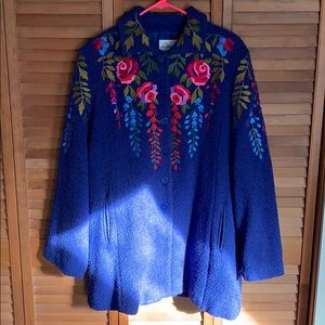 Linea by Louis Dell'Olio embroidered coat size lg